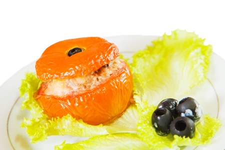farci: cooked baked stuffed tomato. See in series stages of cooking of farci tomato