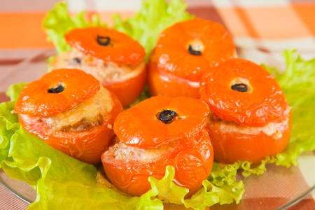 farcie:  roasted stuffed tomato. See in series stages of cooking of stuffed tomato  Stock Photo