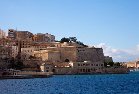 olden day: View of Valletta fortress from sea side. Malta