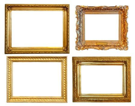 4 gold frames. Isolated over white background with clipping path photo