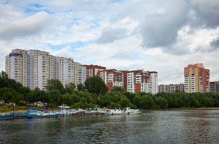 novosibirsk: residential district at Novosibirsk city from river side. Russia