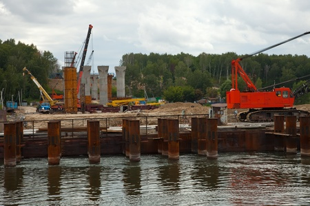 novosibirsk: Building a new bridge across the Ob River. Novosibirsk, Russia