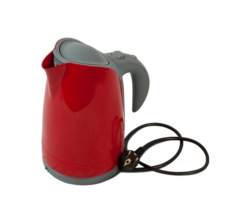 electric tea kettle: electric tea kettle. Isolated on white background Stock Photo