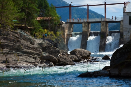 hydropower: hydro-electric power station on Chemal, Altai, Siberia  Stock Photo