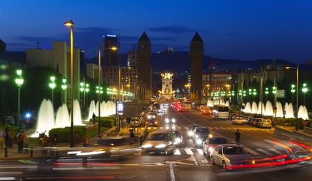 View of Barcelona in night. Spain photo