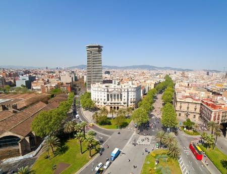 Top view of La Rambla. Barcelona, Spain photo