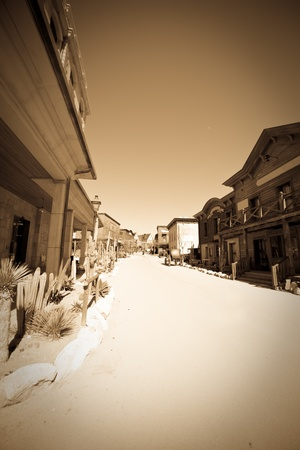 Retro photo of Wild west town  photo