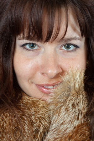 fox fur: Portrait of happy girl in fox fur