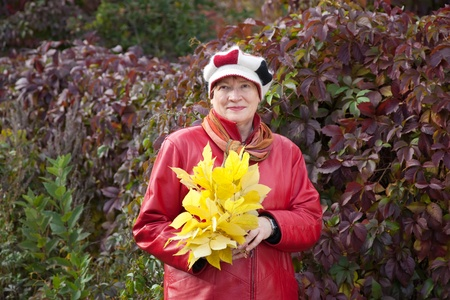 Outdoor portrait of  mature woman with maple posy Stock Photo - 10812760