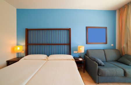 bedder:  interior of bedroom with double bed Stock Photo