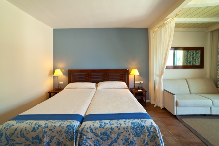 bedder: interior of bedroom with double bed