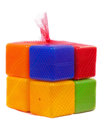 Packed plastic toy blocks on white background Stock Photo - 10884930