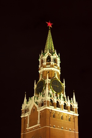 spasskaya Tower at Moscow Kremlin in night. Moscow, Russia  photo