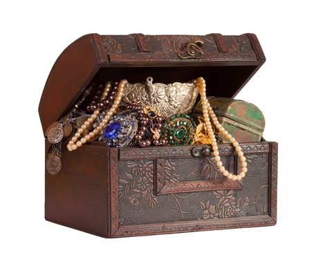Wooden treasure trunk with jewellery, isolated with  clipping path photo