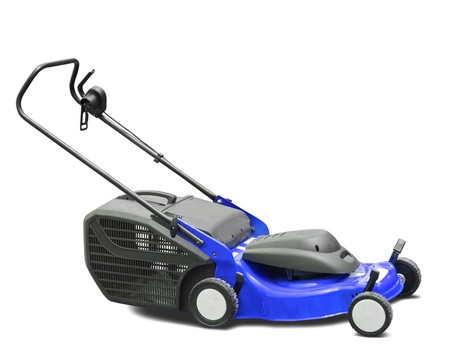Blue lawn mower. Isolated with clipping path photo