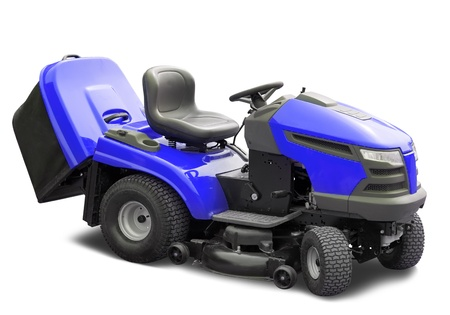 Blue lawnmower. Isolated over white  with clipping path photo