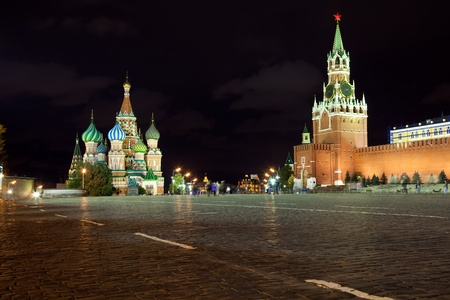 Intercession Cathedral  and the Spassky Tower of Moscow Kremlin at Red Square in Moscow. Russia photo