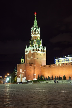 spassky: Spassky Tower of Moscow Kremlin at Red Square in Moscow. Russia Stock Photo