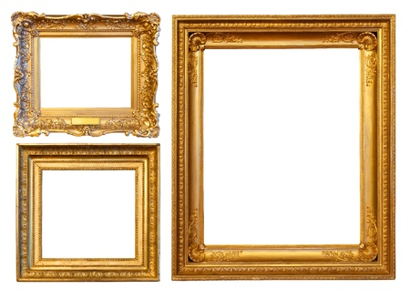gold frames: 3  gold frames. Isolated over white background