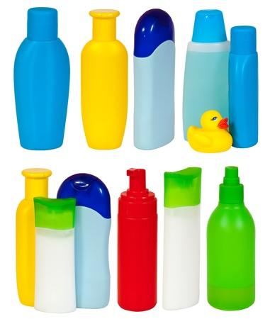 Set of  many toiletries bottles . Isolated on white backgrounds  photo