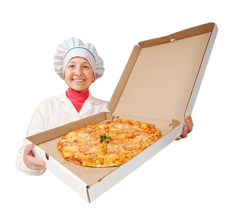 female cook with cooked pizza. Isolated over white background photo