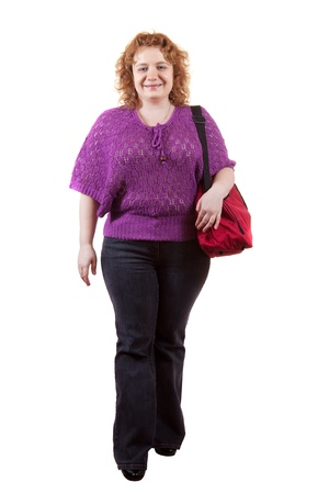 big sized woman with bag. Isolated over white background photo
