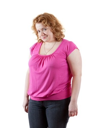 overeat: Overweight sized woman in pink. Isolated over white background
