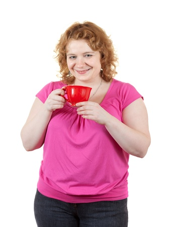 unbeautiful: big sized woman with cup. Isolated over white background