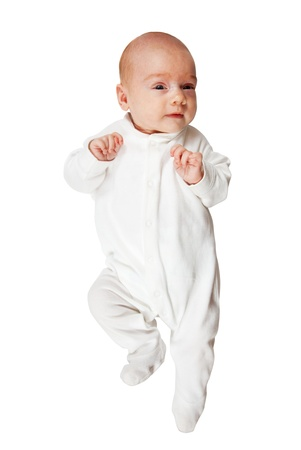 baby romper: 1 month  baby in white romper over white background