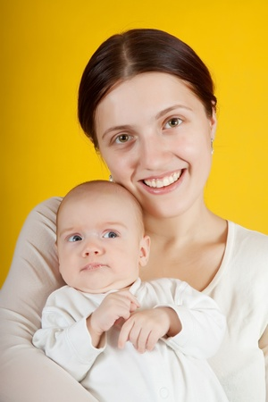 0 1 year: mother with her baby Stock Photo