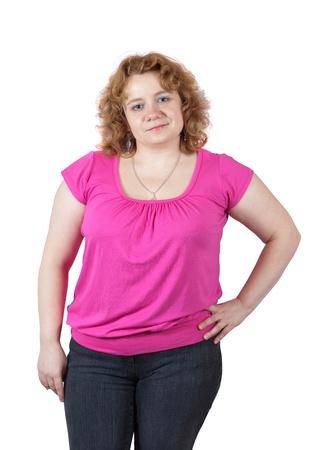 donne obese: grassa brutta donna. Isolato su sfondo bianco