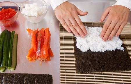 Closeup of cook making  Japanese sushi rolls  Stock Photo - 11069936