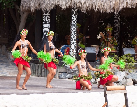 SALOU, SPAIN - APRIL 13:  Port Aventura theme Park in April 13, 2011 in Salou, Spain. Dancers performance traditional show at Polynesian area