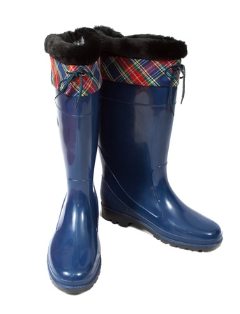 welly: blue waterproof gumboots. Isolated on  white background