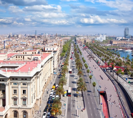 View of Barcelona. Aerial view from the Columbus Column