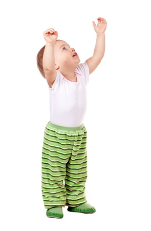 Happy toddler  over white background Stock Photo