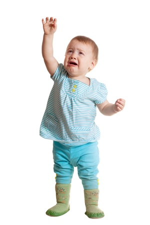Sad baby over white background photo