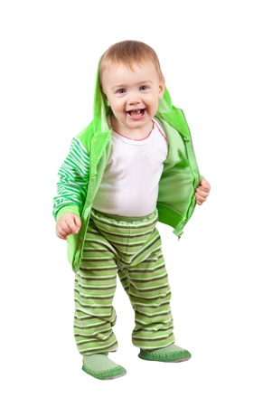 Happy toddler standing over white background photo