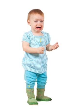 fille triste: Bébé triste sur fond blanc Banque d'images