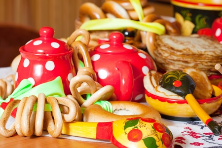 maslenitsa: Traditional russian pancake with  round cracknel and tea