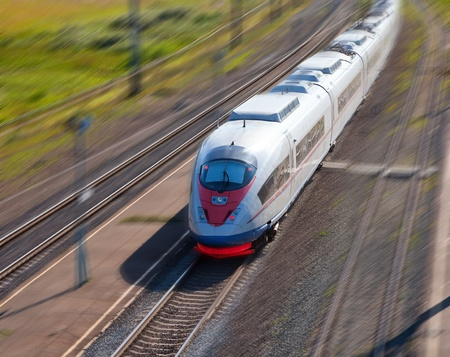 commuter train: High-speed passenger train in motion