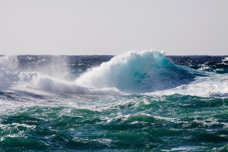 extreme weather: High sea wave during storm at  Mediterranean area Stock Photo