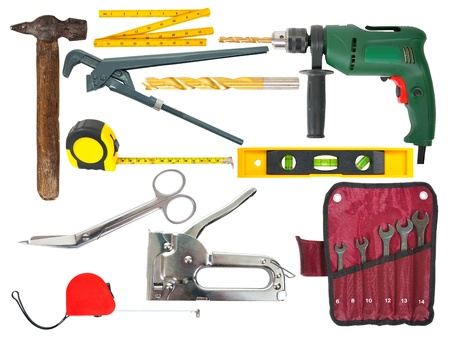 set of working tools over white background with clipping path Stock Photo - 11294710