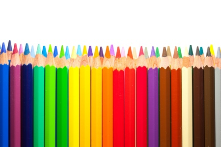 Border from multicolored pencils with copyspase Stock Photo - 11471571
