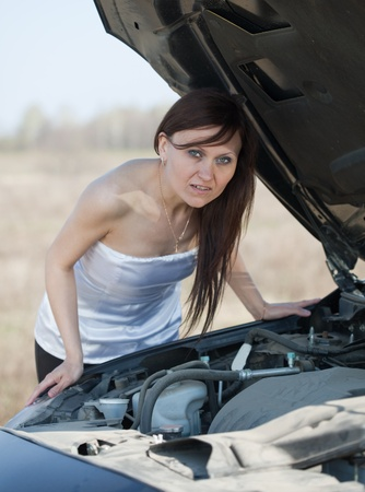 breakage: woman with her breakage car Stock Photo