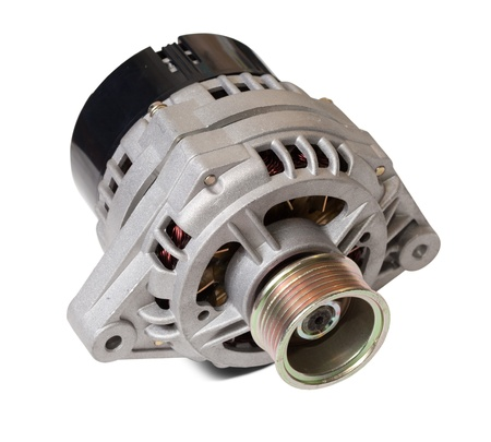 alternator: automotive power generating alternator. Isolated on white with clipping path