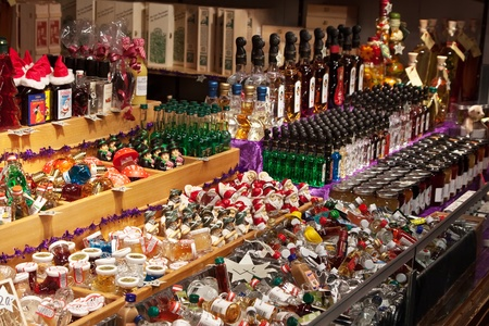 VIENNA, AUSTRIA  - NOVEMBER 22: Store  at Christmas Markets near old city hall in Austria. The Vienna Christmas Market on November 22, 2011 in Vienna, Austria. Kiosk with Christmas drinks and gifts