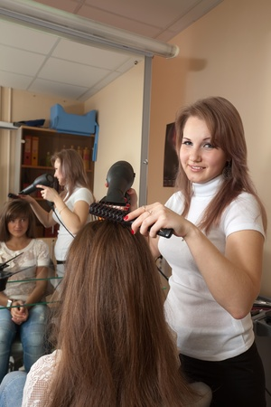 Female hairdresser working with hair dryer Stock Photo - 11479702