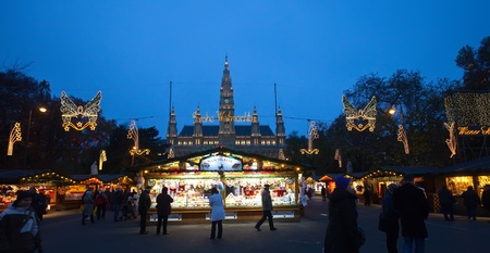 VIENNA, AUSTRIA  - NOVEMBER 22: Store  at Christmas Markets near old city hall in Austria. The Vienna Christmas Market on November 22, 2011 in Vienna, Austria.