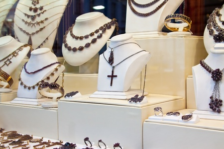 counter with garnet jewelry in store window Stock Photo - 11458826